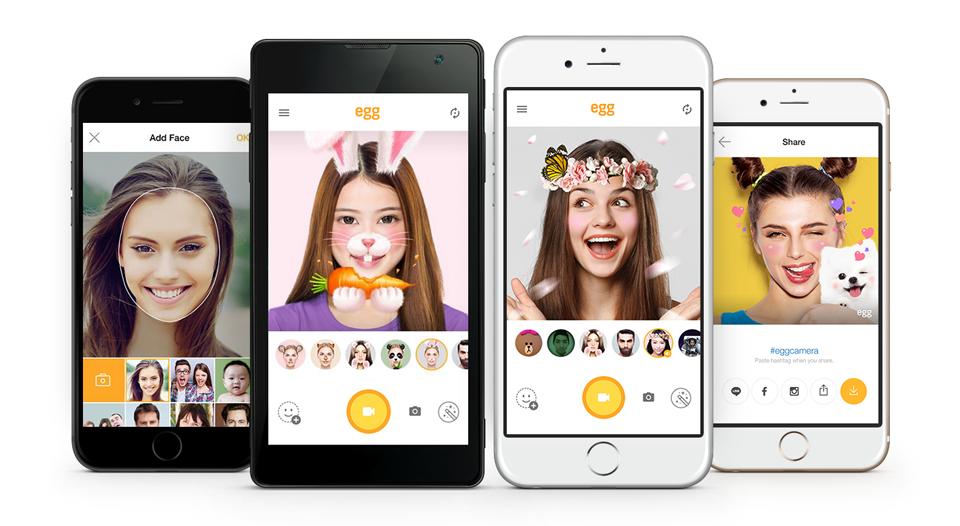 【圖一】LINE推出免費自拍app「egg」,正式於iOS和Android中上架